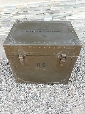 Vintage US ARMY Typewriter Case Box Chest by Texas Trunk Company 1963