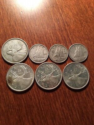 80% Silver Canada Coins Lot of 7 coins