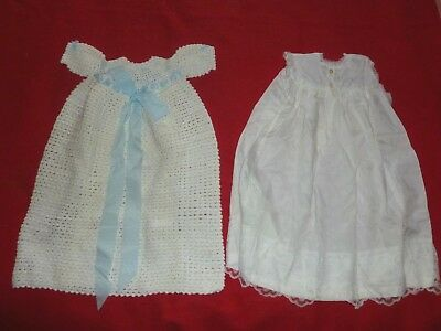 2 x Vintage Christening GOWNS, Hand made, hand knitted VGC White & Blue BOY