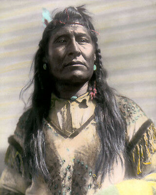 "NEW CHEST PIEGAN BLACKFEET NATIVE AMERICAN INDIAN 8x10"" HAND COLOR TINTED PHOTO"
