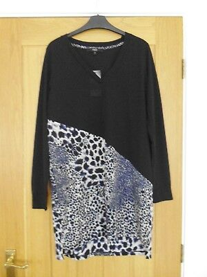 NEXT black dress with blue/black/beige animal print on skirt. Size 12.
