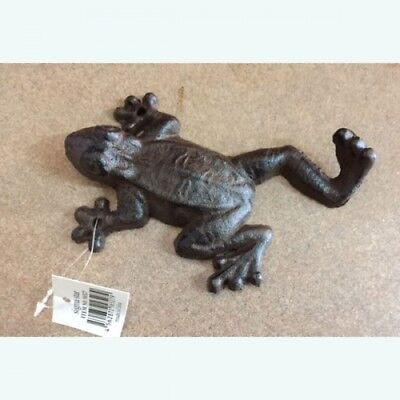 "Cast Iron Frog Hook Rustic Finish Coat Keys Towel Hanger Wall Mounted 6"" x 3.5"""