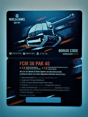 World of Tanks Bonuscode FCM 36 Pak 40 WoT Wargaming Code Gamescom