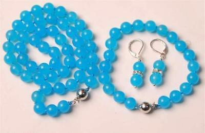 Natural 8/10mm Blue Topaz Chalcedony Round Beads Necklace Bracelet Earrings Set