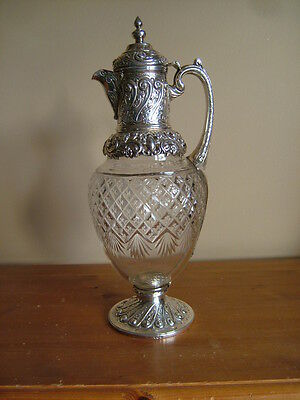 Quality, Antique Victorian English Sterling Silver Cut Glass Claret Wine Jug