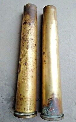 Pair Of  WWII 40MM MK2 W/Anchor Emblem Brass Artillery Shell USED