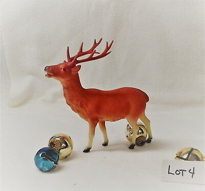 LOT 4 RARE Red Vintage Celluloid Christmas Reindeer Decoration Ornament PRE WWII