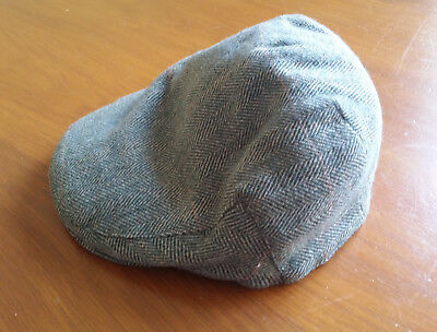 Failsworth green herringbone Harris tweed flat cap hat VGC 56cm 6 7/8 100% Wool