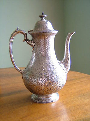 Rare Antique Victorian English Sterling Silver Persian Style Coffee Pot, London