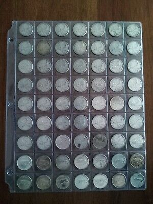 Lot of 63 Canadian Silver Quarters (25c) 1959-1967, No Reserve!