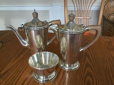 English sterling silver coffee & tea pots with sugar bowl. 1950's, 906 grams