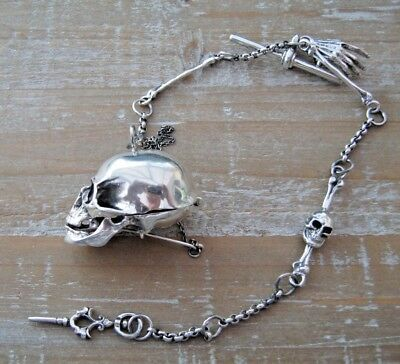 Novelty Sterling Silver Skull Box Vesta Case On Albert Watch Chain MOMENTO MORI