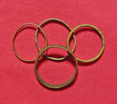Lot Of 4 Ancient Roman Bronze Wedding Ring's