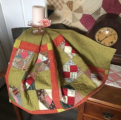 Antique Vintage Old 1800's Poison Green Very Early Prints Nine Patch Quilt Piece