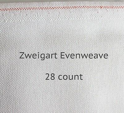Zweigart, White,  28 Count Brittney - Evenweave (Various Sizes Available)