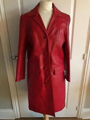 VINTAGE RED COAT LEATHER 60s MOD FAB SIZE 14