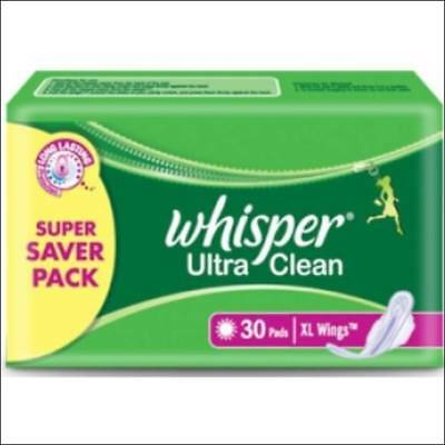 Whisper Ultra Clean -XL Wings(sanitary pad for women) (30 Pads)