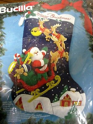 """Bucilla Christmas Holiday STOCKING FELT Applique Kit,OVER THE ROOFTOPS,28"""",83118"""