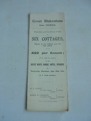 1912 Great Blakenham Ipswich  Suffolk  Auction Sales Particulars Document