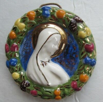 Vintage Handmade Madonna Mary Blessed Mother Ceramic Wall Plaque
