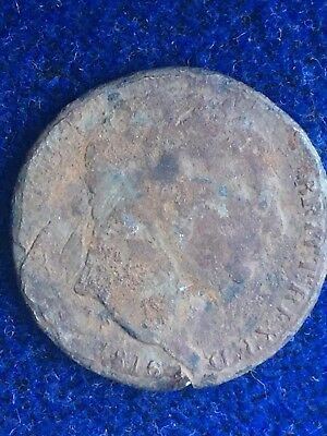 Genuine 18th Century Antique King Gorge III Milled Shilling Coin Dated 1816.
