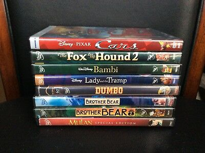 Lot of 8 Disney DVDs, Dumbo, Cars, Mulan, Lady & the Tramp, Bambi, Brother Bear