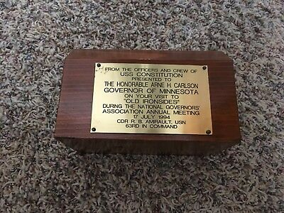 """USS Constitution Award """"Old Ironsides"""" Arne H. Carlson Governor of Minnesota"""