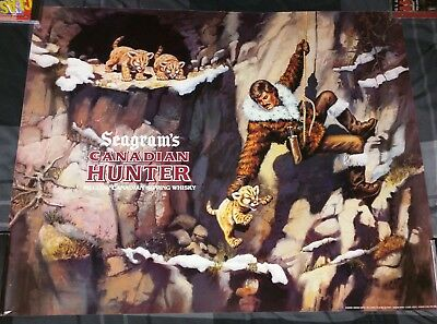 Seagram's Canadian Hunter Whiskey / 1980's Baby Cub Tiger's Poster Man Cave