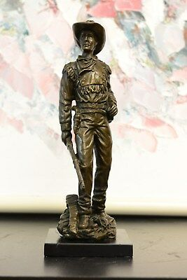 BRONZE STATUE COWBOY SCULPTURE FIGURINE, sold as is