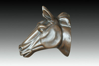 Signed: Nick ,Bronze statue horse head wall mount wall hanging sculpture