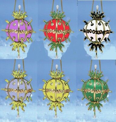 """Ashley"" Kit makes 2 Ornament Bead & Sequin Christmas red, black & white, green"