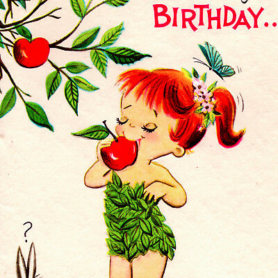 Vintage BIRTHDAY CARD Unique ADAM & EVE Greeting RUST CRAFT Unused GIRL mcm VTG