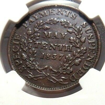 1837 - May 10Th - Hard Times Token  - Ht - 65 - Low - 40 - Ngc Au - 58 - Nr