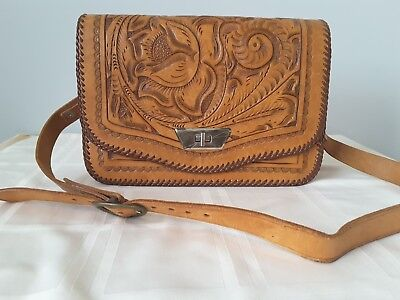 Vintage Hand Tooled Leather Purse Shoulder Bag Western Mexico
