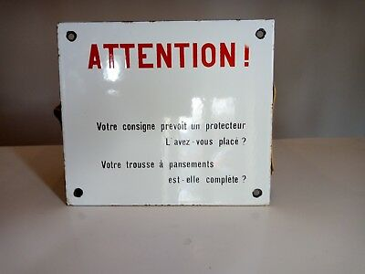 "Vintage French Metal Enamel SNCF Train ""Attention!"" Sign Display Transportation"