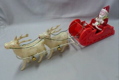 Vintage Celluloid Christmas Santa, Sled & Reindeer Set, Made in Japan