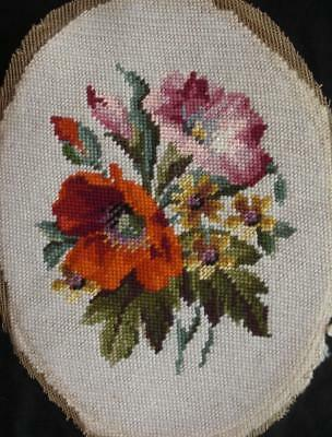 "Vintage Completed wool oval needlepoint flowers on off-white 11.7""x8.7"""