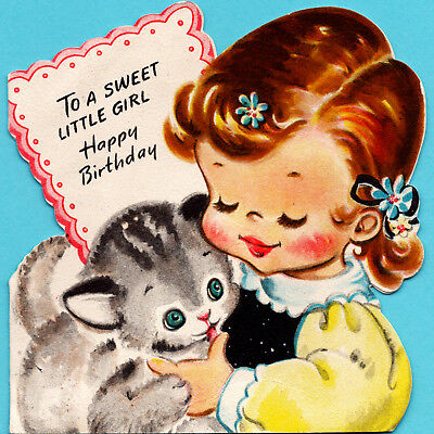 VINTAGE Birthday Card ADORABLE LITTLE GIRL Kitty Cat HALLMARK 1946 Die Cut CHILD