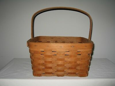 "Longaberger Basket with Handle, 1987, 12"", square"