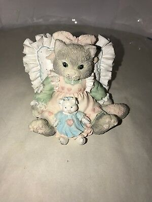 1992 Enesco Calico Kittens Figurine Friends Are Cuddles of Love Cat & Pillow 215