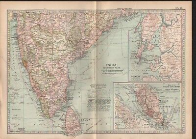 c1902 map of Southern India Sri Lanka by Adam and Charles Black