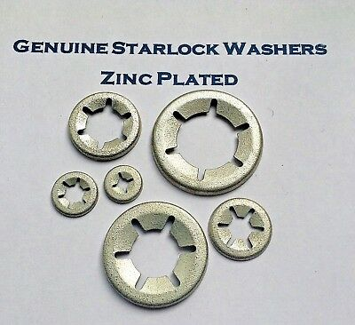 Star Lock Push On Grab Speed Clamp Fasteners Clip Washers  Zinc Plated  3mm-16mm