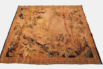 Antique French Aubusson Tapestry Verdure Wool Beige 5'x6'(153cm x 191cm) C.1900