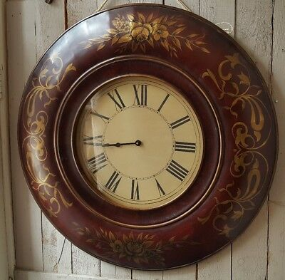 New 92cm LARGE Vintage French BURNISHED Gold Shabby Chic Round Wall CLOCK