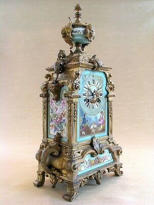 19th C French Antique Mantel Clock with Sevres Porcelain