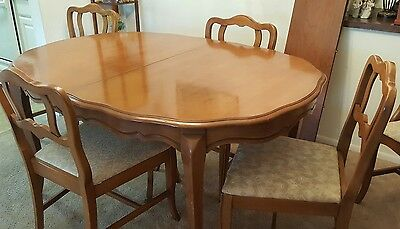 Vintage 1957 Cherrywood Dining Room Table,6 Chairs With Curio Cabinet & Hutch.