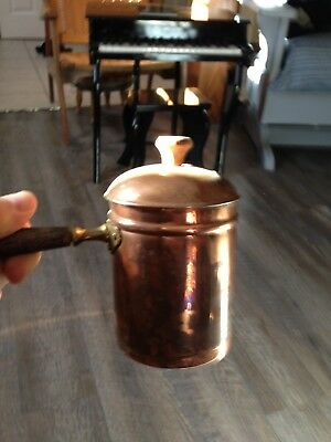 Copper Butter Melting Pot/coffee Warmer With Wood Handle