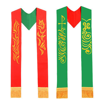 Christian Embrodiery Priest Stole Catholic Clergy Reversible Stole Green Red