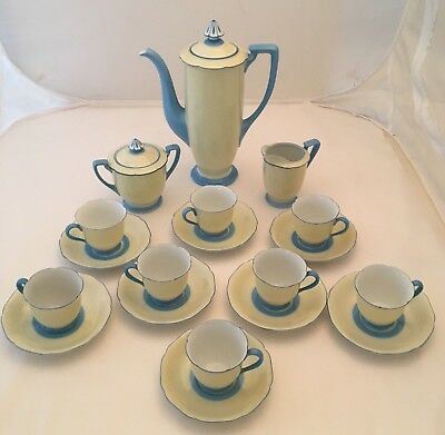 Noritake Art Deco Vintage Handpainted Tea Pot Set For 8 Yellow W/ Blue Trim