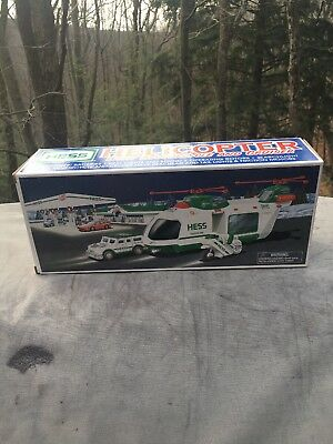 2001 Hess Toy Truck Helicopter With Motorcycle And Cruiser - New In Box